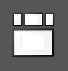 Mockup modern empty frames on wall layout vector