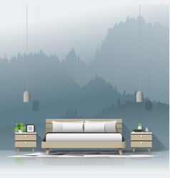 modern bedroom with mountain landscape wallpaper vector image