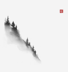 mountain slope with pine trees traditional vector image