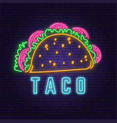 neon mexican taco retro badge design design vector image