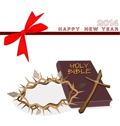 New year gift card with bible and crown thorn vector