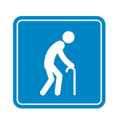Old man with a cane detailed blue icon for public vector