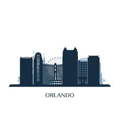 Orlando skyline monochrome silhouette vector