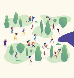 people in park families in outdoor activities on vector image