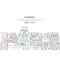 pharmacy - modern line design style web banner vector image