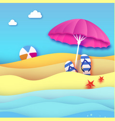 pink parasol - umbrella in paper cut style vector image