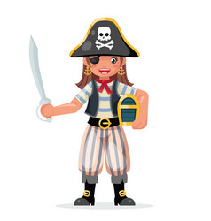 Pirate girl children costume masquerade teen party vector