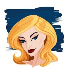 Pretty blonde woman portrait cartoon vector
