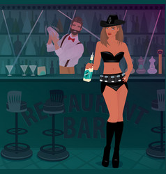 Promo girl offers alcoholic drink in the bar vector