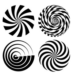 Radial spiral rays set psychedelic vector