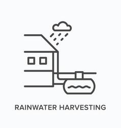 Rainwater harvesting flat line icon vector