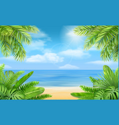 Sea beach and tropical bushes vector
