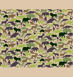 seamless camouflage pattern with animals for kids vector image