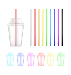 set colorful plastic empty disposable cup and vector image