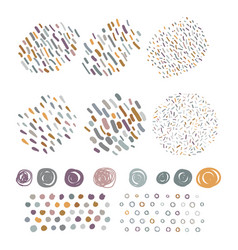 set hand drawn scribbles with brush strokes vector image