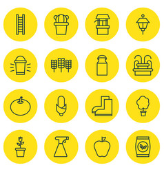 set of 16 planting icons includes gardening shoes vector image