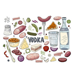 set of hand drawn russian vodka and different vector image