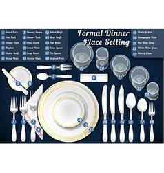 Set of Place Setting Formal Dinner vector image