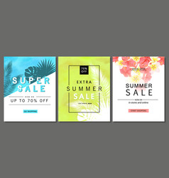 Set of summer sale banner templates with tropical vector