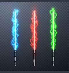 Set three realistic electric light swords vector