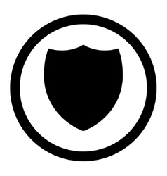 Shield flat black color rounded icon vector