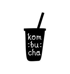 Silhouette glass with tube and text kombucha vector