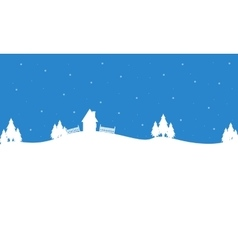 Silhouette of house and tree winter scenery vector