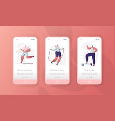 sport gym character mobile app page onboard screen vector image