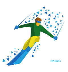 Sportsman ski slope down from the mountain vector