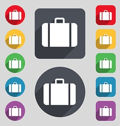 suitcase icon sign A set of 12 colored buttons and vector image