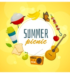 Summer picnic circle concept outdoor holiday vector
