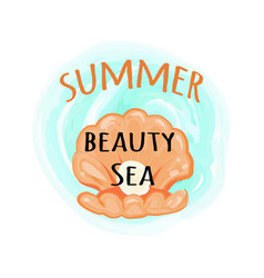 Summer sea beauty poster with open seashell vector