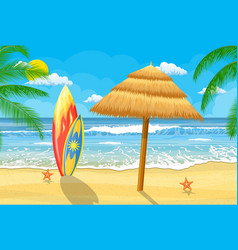 summer time on beach with umbrella vector image