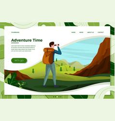 travel man look in binoculars on mountain vector image