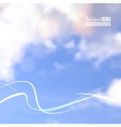 White line over cloud in blue sky vector