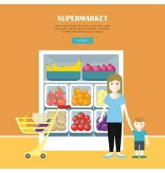 Woman and Little Boy Make Shopping vector