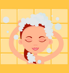woman washes hair vector image
