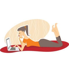 woman with the laptop vector image