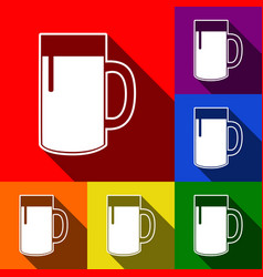 beer glass sign set of icons with flat vector image