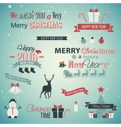Christmas set labels emblems vector image vector image