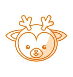 cute shadow deer face cartoon vector image vector image
