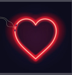 neon heart sign with wires on dark background vector image