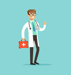 smiling male doctor character standing and holding vector image