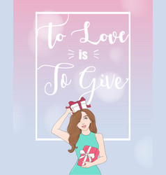 woman holding gift box frame with copyspace vector image vector image