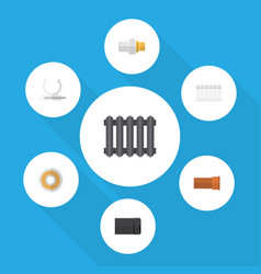 flat icon sanitary set of roll tube heater and vector image vector image