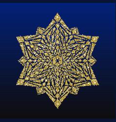gold glitter snowflake christmas card vector image vector image