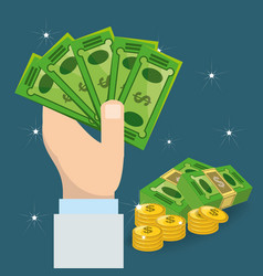 hands holding a lot of bills vector image vector image
