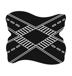 intersection single icon in black style vector image