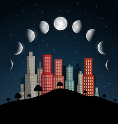 Moon phases night abstract city vector