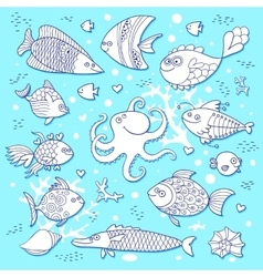 Set cute fish and octopus for the design of child vector image vector image
